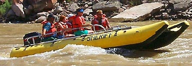 Search and Rescue Boat Cruising the Colorado